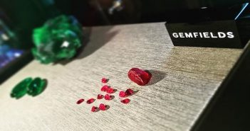 Gemfields' Mozambican rubies with Zambian emeralds. Photo: Gemfields