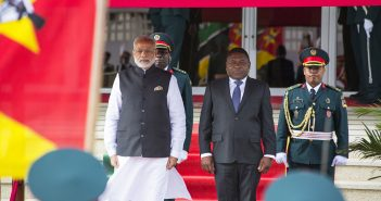 Indian Prime Minister and Mozambique President Filipe Nyusi watch a military parade in Maputo on 7 July 2016. Photo © Timothy Haccius / Zitamar News