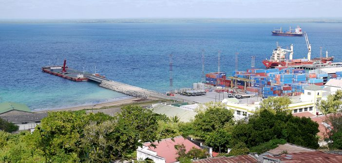 The Bollore floating quay in Pemba. Photo: Tom Bowker