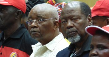 Former Presidents Armando Guebuza and Joaquim Chissano listen to Faustino's speech in Maputo on 26 May 2017. Photo © Alexandre Nhampossa / Zitamar News
