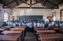 A school in Chokwe, Gaza, receiving a donation of desks from the Port of Maputo
