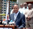 File photo of Renamo Secretary-General Manuel Bissopo addressing the media.
