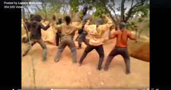 A still from a video purportedly showing the torture of garimpeiros in Montepuez.