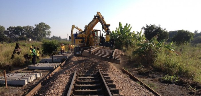 Work on Mozambique's Sena rail line rehabilitation, completed in 2016. Photo: Mota Engil