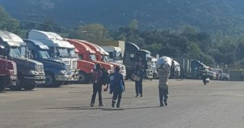 Trucks waiting at Mwanza, near Malawi's border with Mozambique