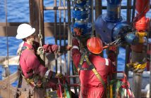Workers on a gas rig offshore Mozambique. Photo: Anadarko