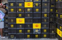 Crates of CDM beer piled up in Maputo. Photo © Timothy Haccius / Zitamar News