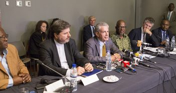International mediators at Mozambique peace talks, including Mario Raffaelli, centre. Photo © Timothy Haccius / Zitamar News