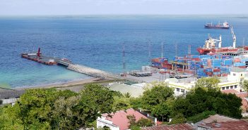 The Bollore floating quay in Pemba. Photo © Tom Bowker / Zitamar News