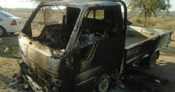 Burnt out truck in Moatize, following attack 1 August