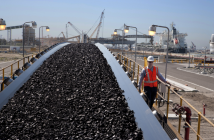 A mining technician oversees a coal export terminal. Photo: Peabody Energy