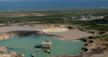 Aerial view of the Moma mine pond, processing plant and jetty. Photo: Kenmare Resources