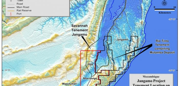 A map of Savannah Resources' and Rio Tinto's tenements in Inhambane province.