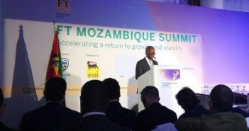 Mozambique finance minister Adriano Maleiane addressing the FT Mozambique Summit in Maputo, 2 November 2016