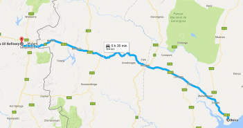 The pipeline operators aim to take traffic from tankers using the road from Beira to Zimbabwe. Photo: Google Maps