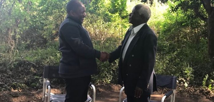 Filipe Nyusi and Afonso Dhlakama meeting in Gorongosa, 6 Aug 2017. Photo: Presidency of the Republic of Mozambique