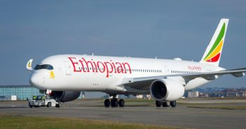 An Airbus A350 from the Ethiopian Airlines fleet.