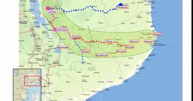 The swathe of northern Mozambique under plans for ProSavana