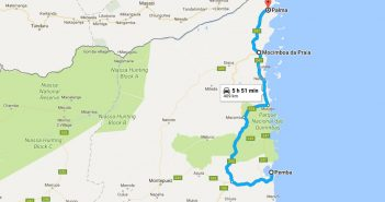 Map showing directions from Pemba in the south to Palma in the north, via Mocimboa da Praia. Image: Google Maps