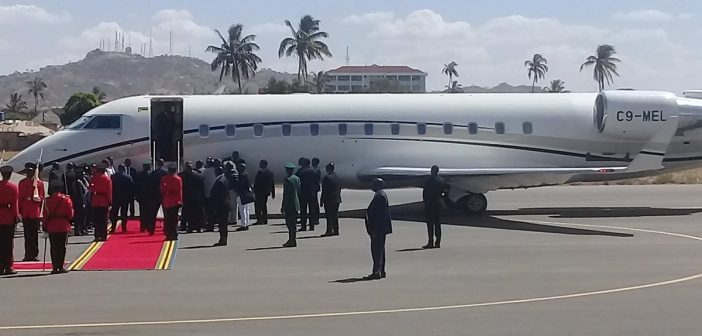 Nyusi arriving in Tanzania on 14 December, on Mozambique's newly-acquired presidential jet. Photo: Twitter