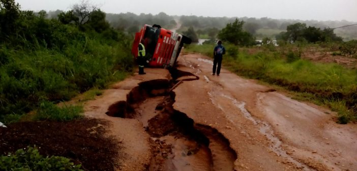 Flooding washed away roads in northern Mozambique on 16 January 2018.