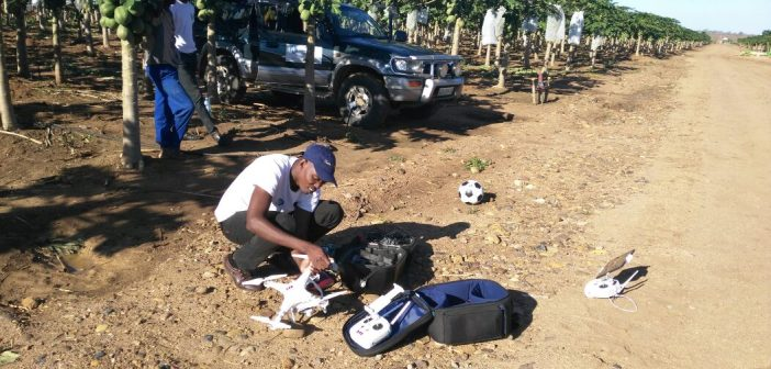 The organisation Thirdeye uses drones to help Mozambican small-scale farmers detect crop stress Photo: Bacelar Muneme (Thirdeye)