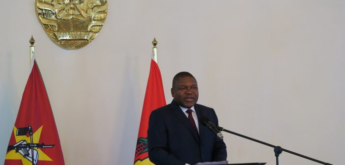 President Filipe Nyusi speaking in Maputo on 7 February 2017. Photo © Tom Bowker / Zitamar News