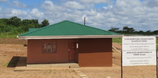 A model house in the Namanhumbir resettlement village. Photo: Montepuez Ruby Mining