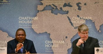 Filipe Nyusi with the head of Chatham House's Africa Programme, Alex Vines