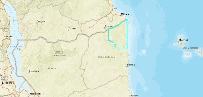 The Rovuma Onshore Area operated by Wentworth Resources. Image: http://portals.flexicadastre.com/mozambique
