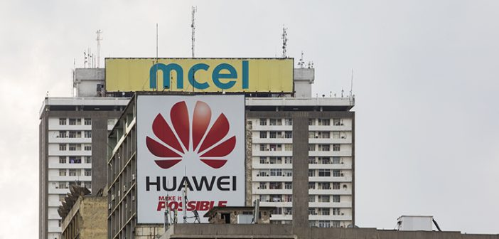 Mcel and Huawei logos in Maputo, 2016. The mcel logo on the '33 Andares' building has since been replaced by Vodacom's. Photo © Timothy Haccius / Zitamar News