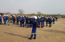 Worker's at ICVL's Benga mine on strike on 16 October. Photo © Fungai Caetano / Zitamar News