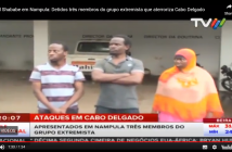 The three arrested Ugandans presented to the media in Nampula on 25 January 2019. Screengrab: TVM