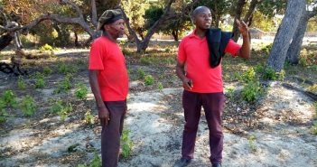 Amade Abubacar (right) in the field as a journalist, Cabo Delgado, December 2018. Source: Facebook