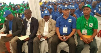 Renamo leadership candidates (front row l-r) Manuel Bissopo, Elias Dhlakama, Ossufo Momade, Juliano Picardo, and Herminio Morais, at the party's Congress in Gorongosa on 15 January. Photo © Fungai Caetano / Zitamar News