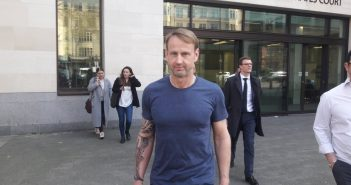 Andrew Pearse leaving court on 29 March 2019. Photo: Tim Jones / Jubilee Debt Campaign