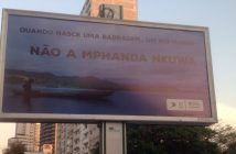 A billboard in central Maputo protesting against the planned Mphanda Nkuwa hydropower project. Photo: Dercio Tsandzana / Twitter