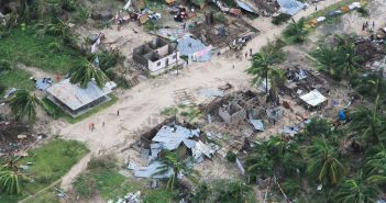 Aerial photo of the damage caused by Cyclone Kenneth on a village in Macomia district. Photo © Saviano Abreu / UN