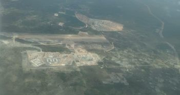 An aerial photo of the LNG project site at Afungi, Cabo Delgado.